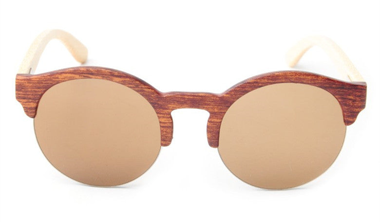 Awesome Women's Bamboo Wood Round Vintage Frame Brown Frame Sunglasses with Mirrored Gradient Lenses