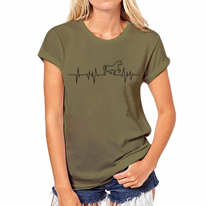 Awesome Unicorn Heartbeat Olive Green Short Sleeve T-Shirt Top