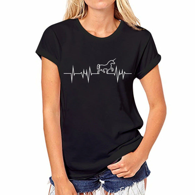 Awesome Unicorn Heartbeat Black Short Sleeve T-Shirt Top