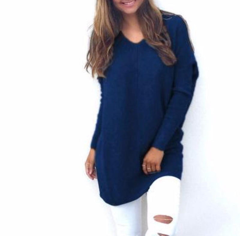 Women's Cozy V-Neck Long Tunic Length Fine Knit Sweater Pullover Top