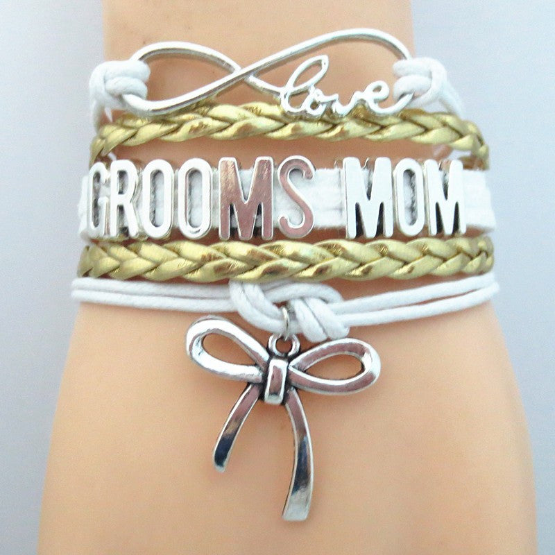 "Ladies ""Groom Mom"" Multi Layered Bracelet with Shoe High Heel Charm Silver Tone with Gold Braid"