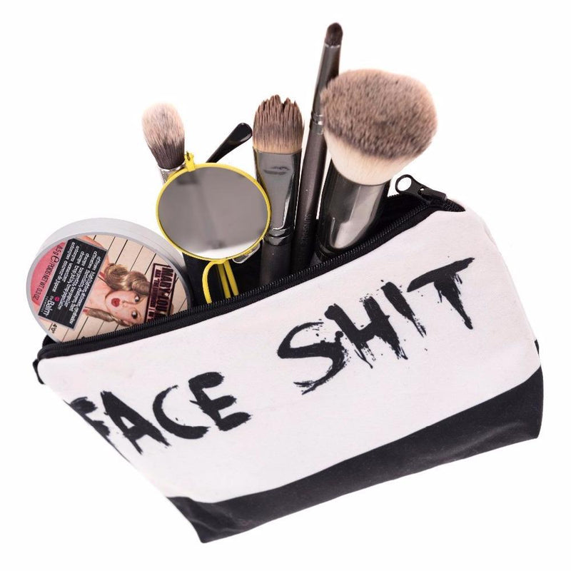 "Awesome ""Face Shit"" Graphic Printed Zippered Cosmetic Bag"