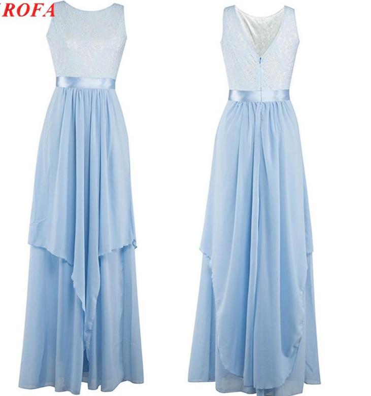 Beautiful Light Baby Blue Lace and Chiffon Long Elegant Maxi Dress