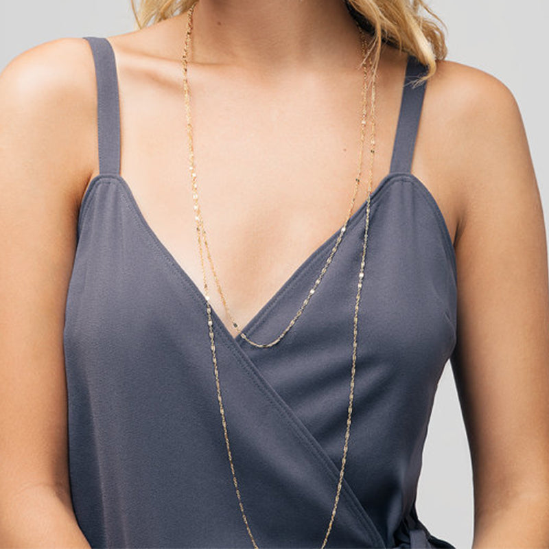 Dainty Double Layered Long Necklace Choose Silver or Gold Tone