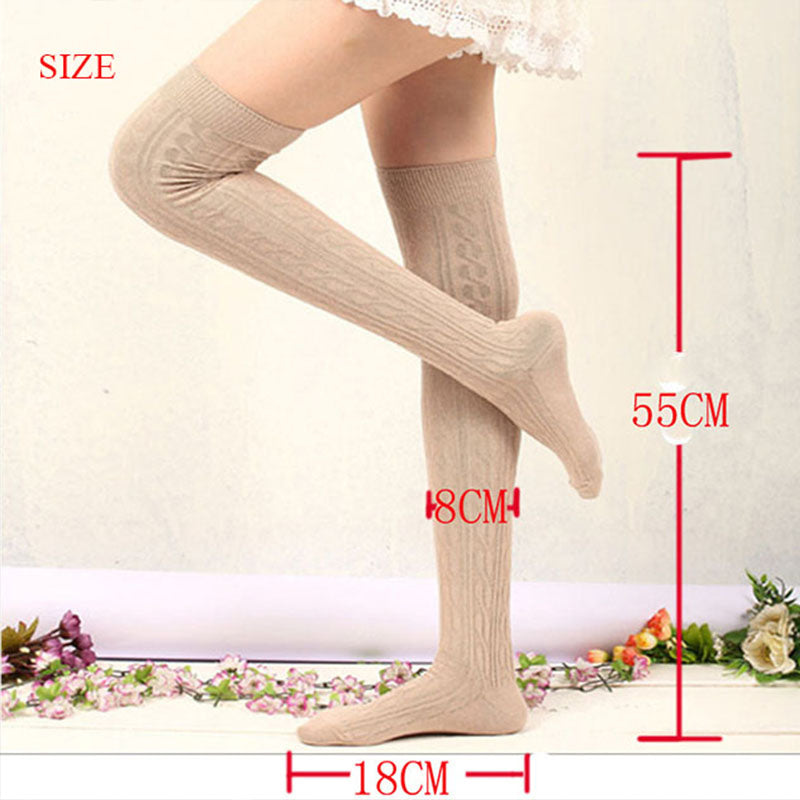1 Pair Light Gray Women's Over Knee Boot Stockings Socks
