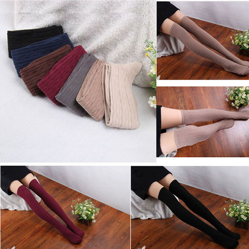 1 Pair Burgundy Red Women's Over Knee Boot Stockings Socks