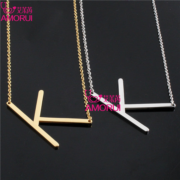 "Unique Letter ""K"" Cutout Letter Choker Charm Necklace"