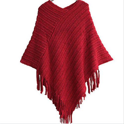 Women's Red Asymmetrical Fringe Shawl Scarf Sweater Cape