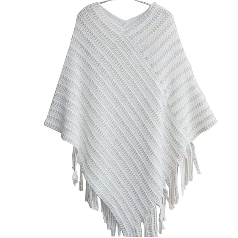 Women's Beige Asymmetrical Fringe Shawl Scarf Sweater Cape