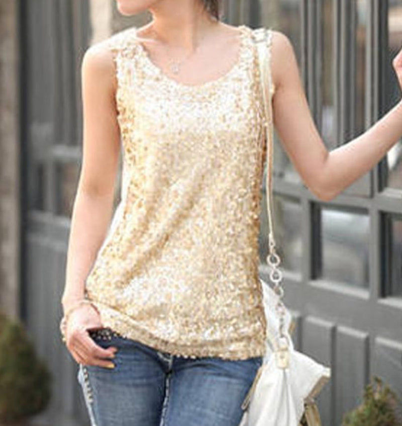 Gold Sequin Sleeveless Tank Top Glitter Top