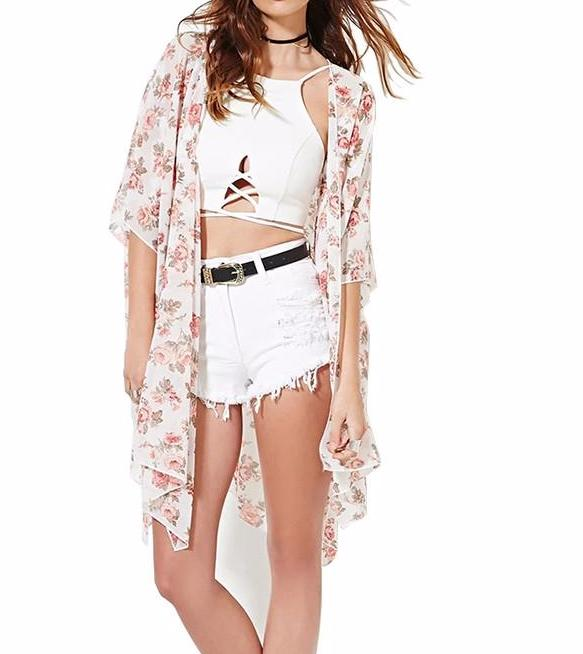 Women's Romantic Pink Roses Floral Kimono Beach Coverup