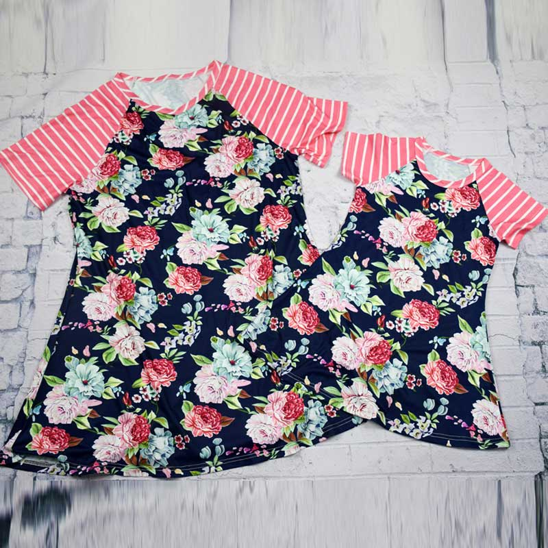 Adorable Mommy and Me Floral and Raglan Striped Short Sleeve Shift Matching Dress