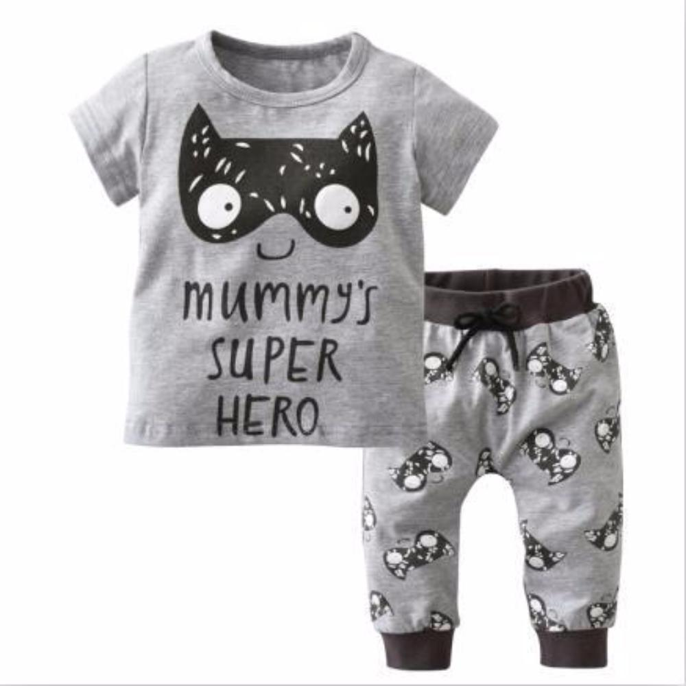 Adorable Mummy's Super Hero Newborn Baby Boys 2Pc Shirt and Pants Clothing Set
