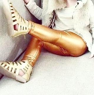 Adorable Shiny Gold Girls Fashion Leggings Faux Leather