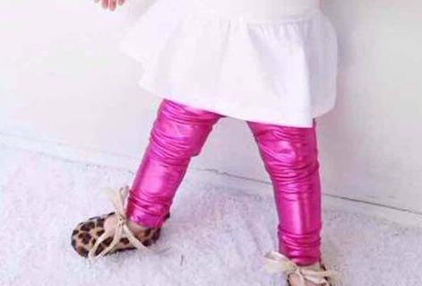 Adorable Shiny Hot Pink Girls Fashion Leggings Faux Leather