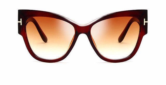 Women's New Gradient Thick Framed Brown Cat Eye Sunglasses with Brown Gradient Lenses High Fashion Designer Brand