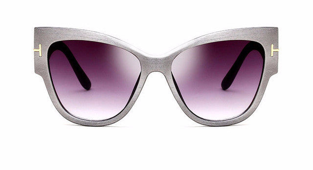 Women's New Gradient Thick Framed Gray Cat Eye Sunglasses High Fashion Designer Brand