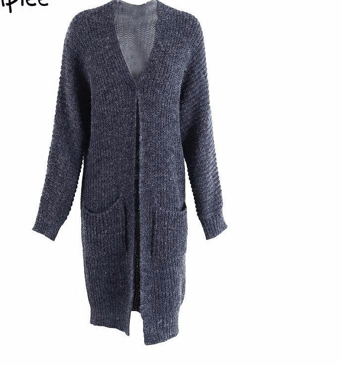 Womens Charcoal Gray Autumn Long Cable Knit Sweater Cardigan