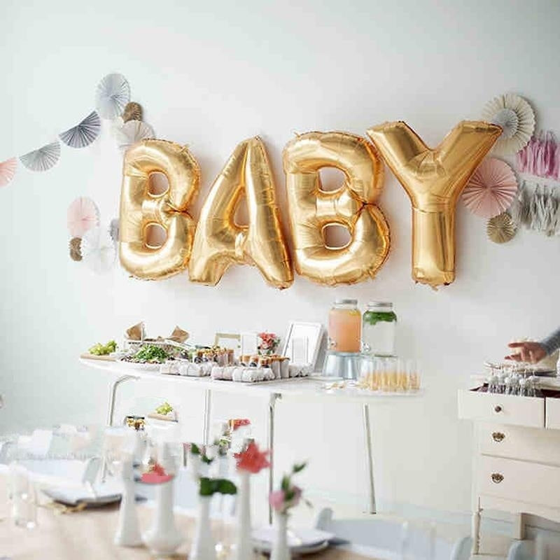 "Fun Gold Foil 16"" BABY Letter Balloons Set for Baby Shower Party Celebration"