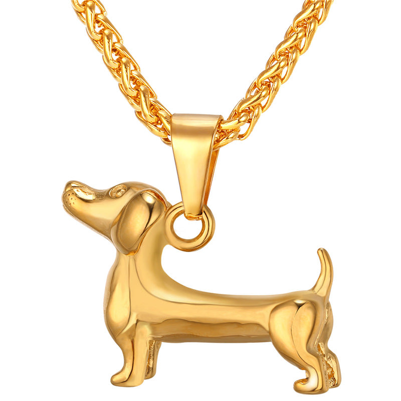 Adorable 3d Dachshund Dog Charm Necklace Gold Tone