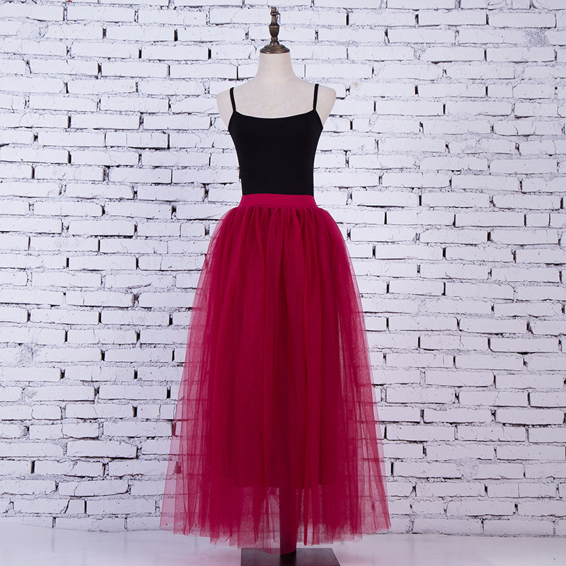 Women's 3 Layers of  Red BurgundyTulle Princess Fairy Style Maxi Skirt