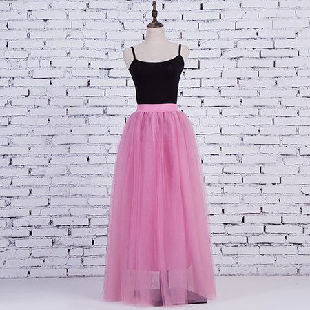 Women's Candy Pink 4 Layers of Tulle Princess Fairy Style Maxi Skirt