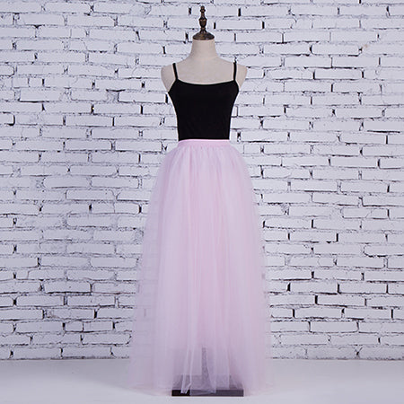 Womens Light Pink 3 Layers of Tulle Princess Fairy Style Maxi Skirt