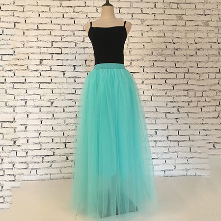 Women's Mint Green 4 Layers of Tulle Princess Fairy Style Maxi Skirt