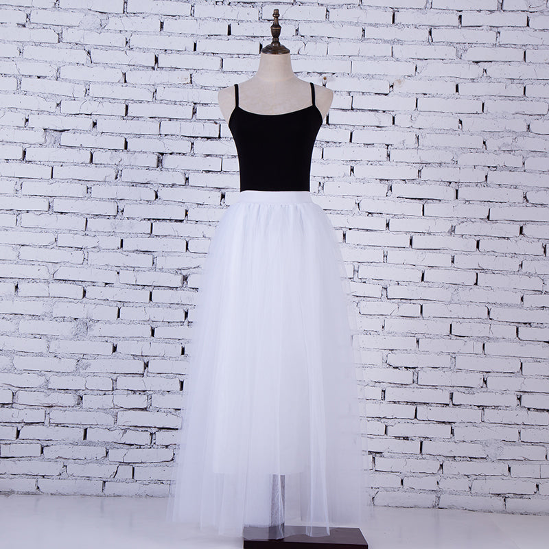 Womens White 3 Layers of Tulle Princess Fairy Style Maxi Skirt