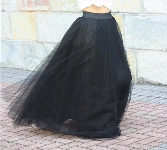 Women's Black 4 Layers of Tulle Princess Fairy Style Maxi Skirt