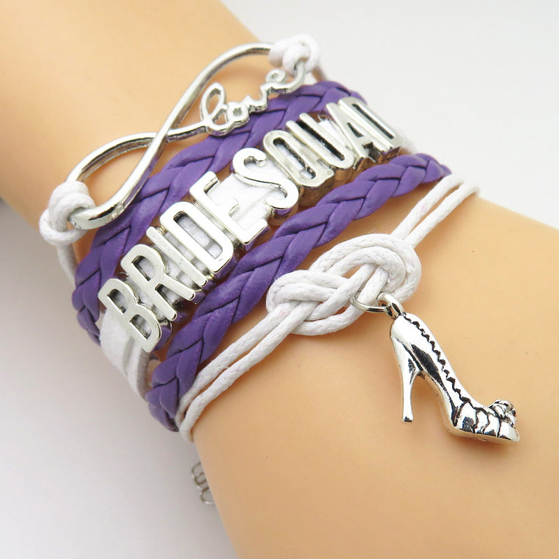 "Ladies ""Love, Bride Squad"" Multi Layered Bracelet with Shoe High Heel Charm Silver Tone Purple Braid Accent"