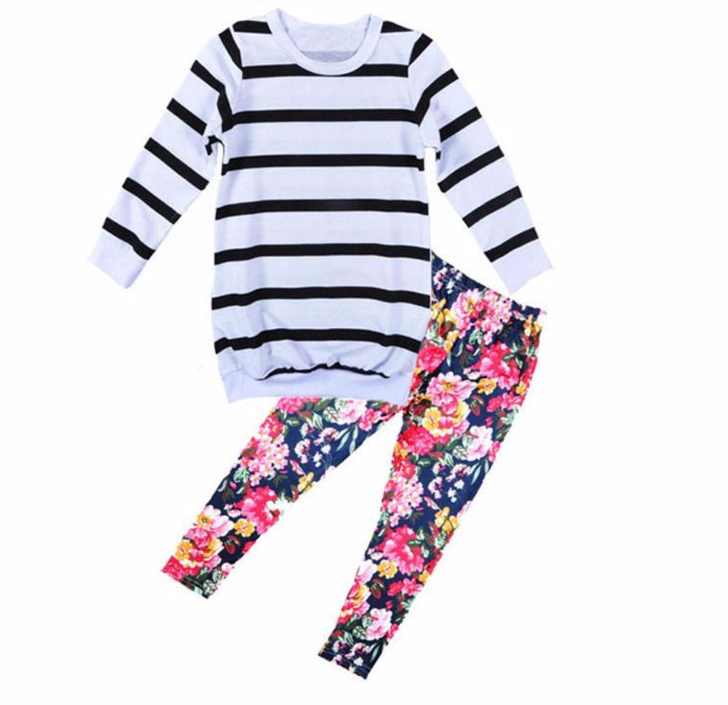 Girls Black/White Striped Top with Floral Bottoms 2 Piece Set