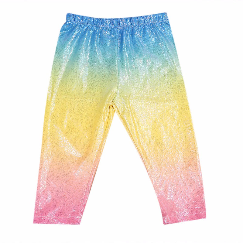 Adorable Baby Toddler Kids Girl Colorful Rainbow Blue Pink Yellow Pink Sparkling Leggings/Pants