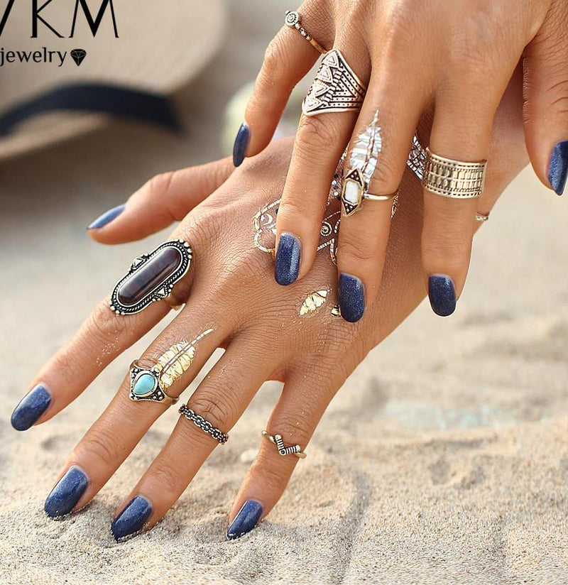Beautiful Dark Brown/Blue Vintage Tribal/Vintage Look 8pcs/Set Midi Knuckle Rings Vintage Gold Tone
