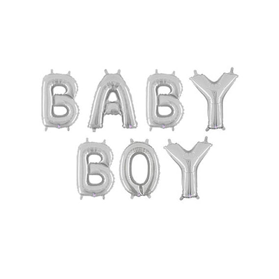 """Baby Boy"" Silver Foil Letter Balloons Set Baby Shower Decoration"