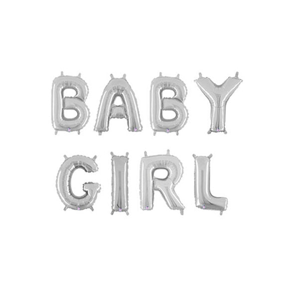 """Baby Girl"" Silver Foil Letter Balloons Set Baby Shower Decoration"