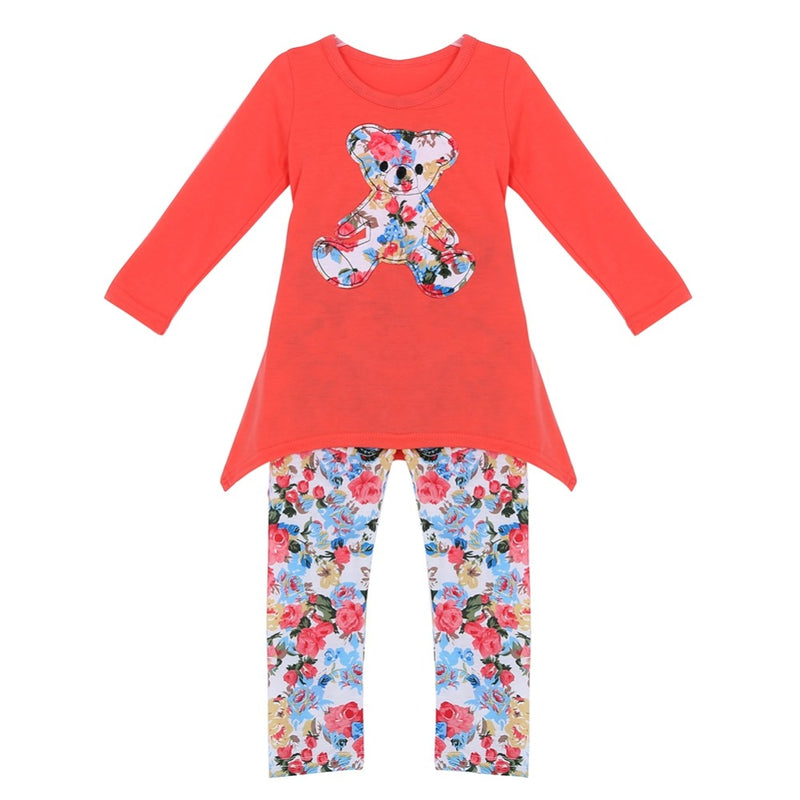 Adorable Red Teddy Bear Girls Long Sleeve 2 Pc Top and Matching Leggings Set