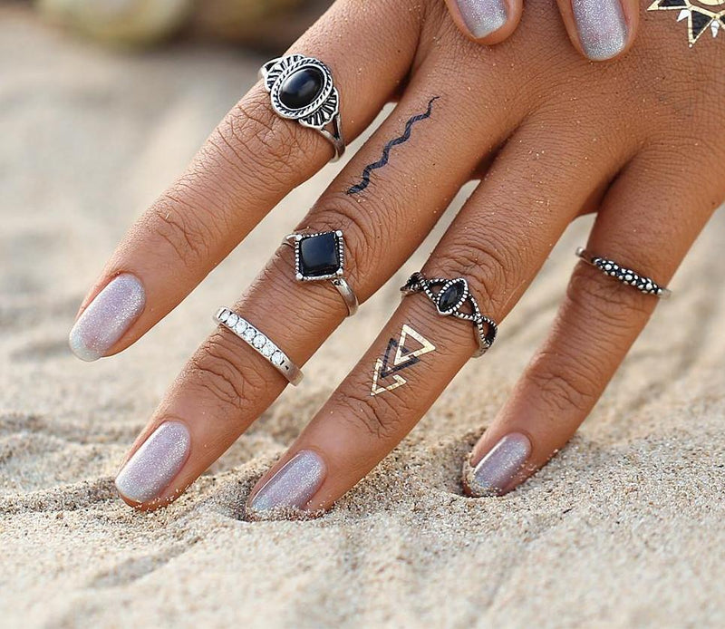 Beautiful Vintage Black Beaded Tribal/Vintage Look 5pcs/Set Midi Rings Antique Silver Tone