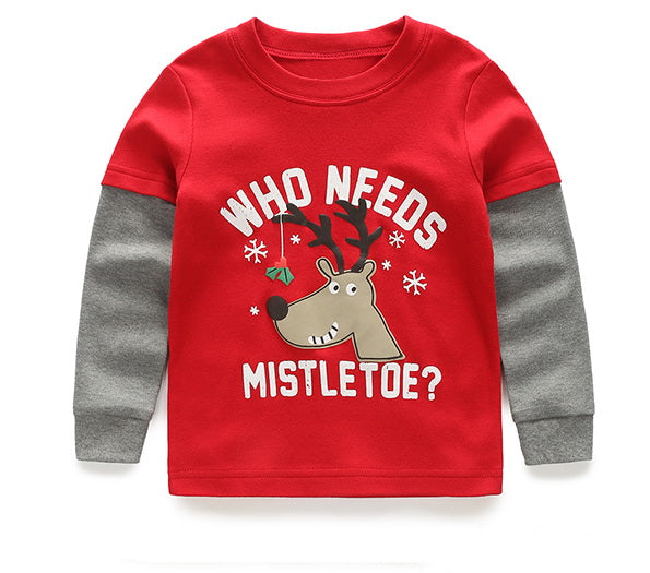 "Awesome Boys Reindeer ""Who Needs Mistletoe"" Long Sleeve Jersey T-Shirt Top"