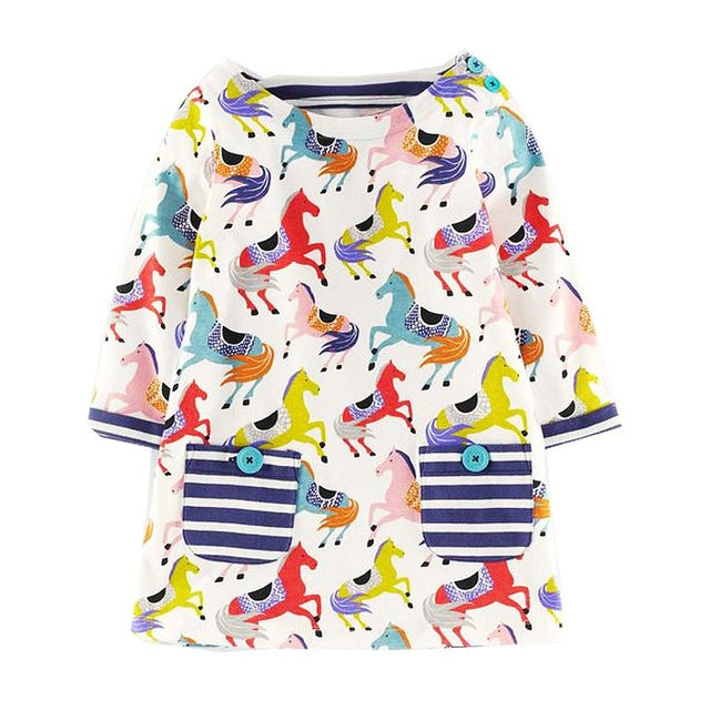 Sweet Colorful Horses Long Sleeve Girls Dress with Navy Striped Pocket Detail