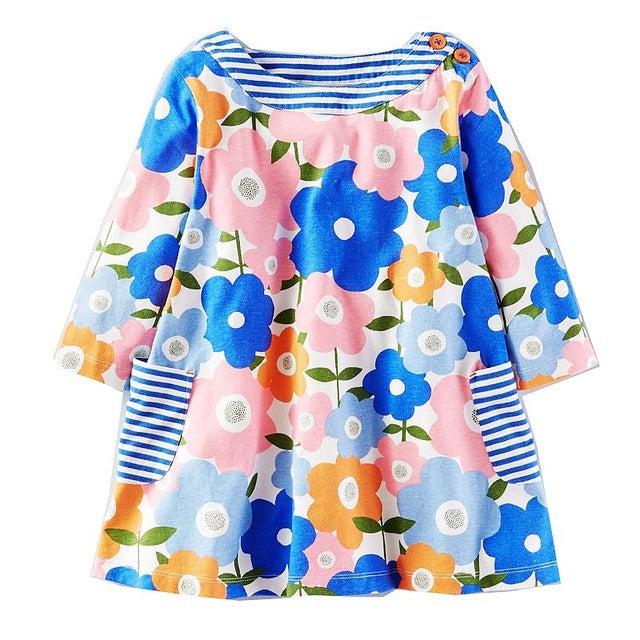 Sweet Colorful Flower Long Sleeve Girls Dress with Blue Striped Pocket Detail