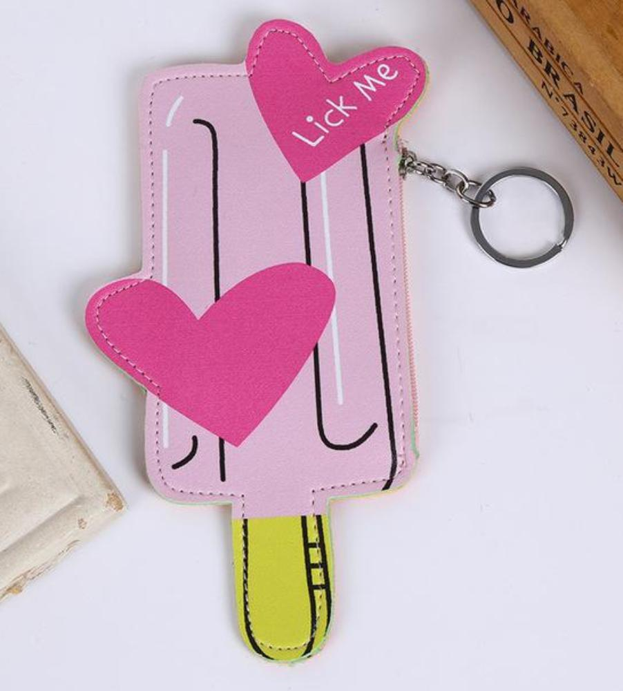Adorable Pink Popsicle Lick Me Cute Coin Purse Keychain Wallet