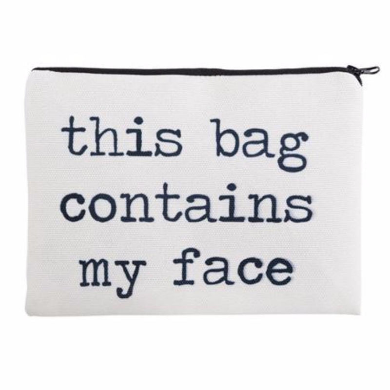 Super Fun This Bag Contains My Face Photo Printed Zippered Cosmetic Pouch Bag