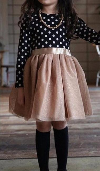 Precious Black/White Polkadot Top with Mocha Brown Tulle Skirt Long Sleeve Little Girls Dress