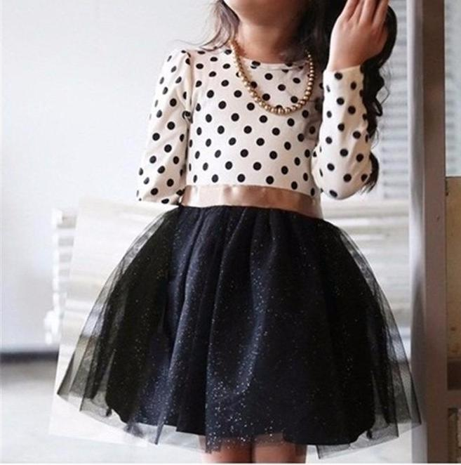 Precious White Polkadots with Black Tulle Skirt Long Sleeve Little Girls Dress