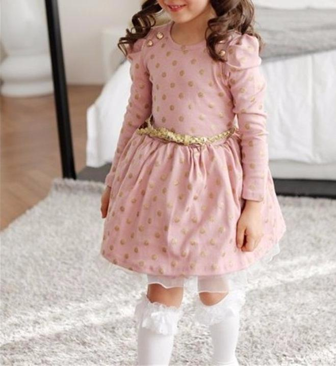Precious Pink/Gold Polkadot with Tulle Ruffle Detail Long Sleeve Little Girls Dress