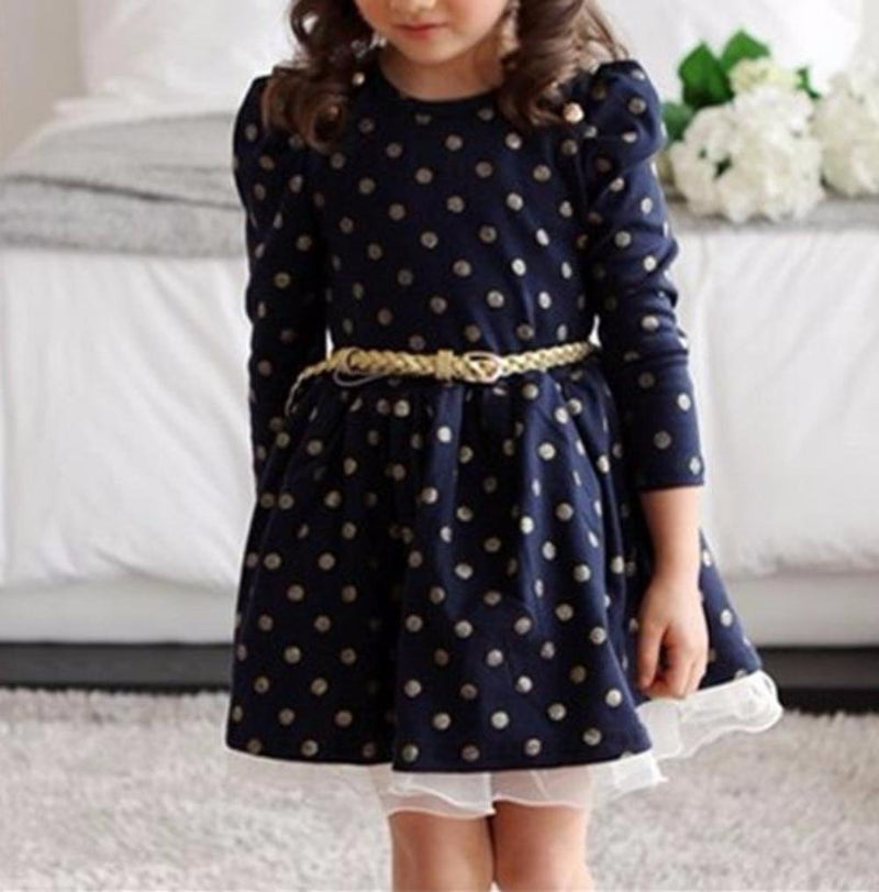 Precious Navy/Gold Polkadot with Tulle Ruffle Detail Long Sleeve Little Girls Dress