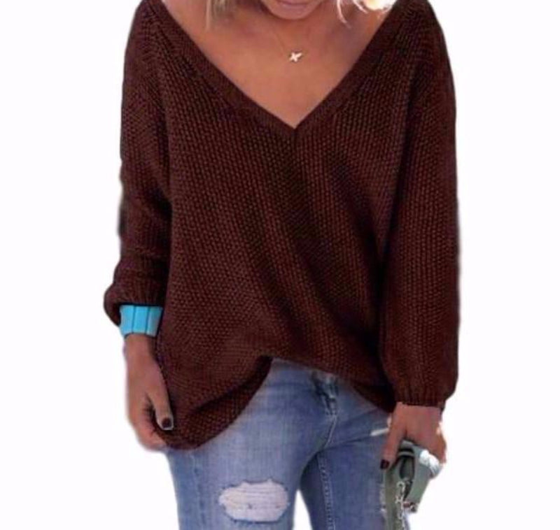 Woman's Chocolate Brown Wide V Neck Long Sleeve Sweater Top