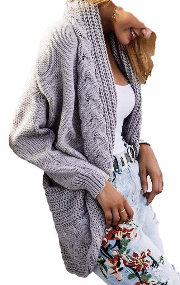 Women's Thick Winter Knit Gray Sweater Cardigan Jacket