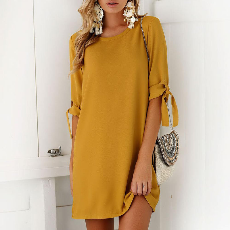 Women's Mustard Yellow 3/4 Sleeve Chiffon Shift Dress